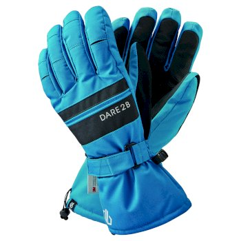 Men's Hold On II Waterproof Insulated Ski Gloves Petrol Blue Black