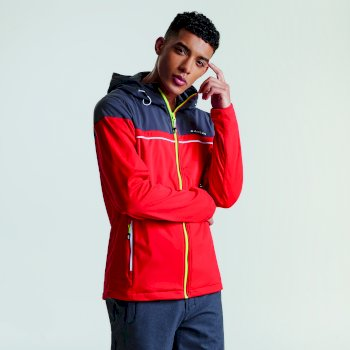 Men's Amnesty Windproof Softshell Jacket Code Red Ebony Grey
