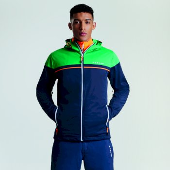 Men's Amnesty Windproof Softshell Jacket Outerspace Blue Highland Green