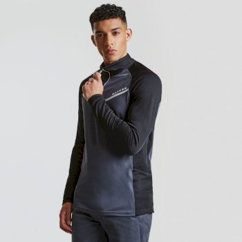 Men's Breaker Half Zip Core Stretch Midlayer Black Ebony Grey
