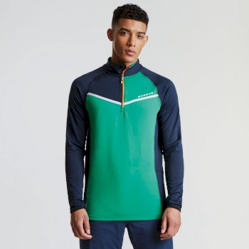 Men's Breaker Half Zip Core Stretch Midlayer Outerspace Blue Highland Green