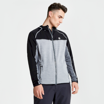 Men's Ratified Lightweight Hooded Core Stretch Midlayer Black Ash Aluminium Grey