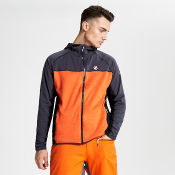 Men's Ratified Lightweight Hooded Core Stretch Midlayer Ebony Clemetine Orange Black