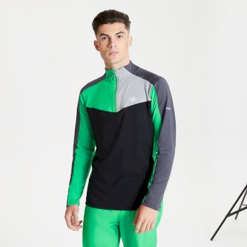Men's Depose Half Zip Core Stretch Midlayer Vivid Green Black