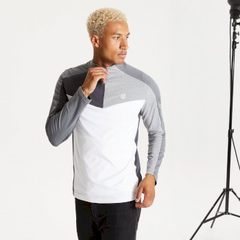 Men's Depose Half Zip Core Stretch Midlayer White Aluminium Grey