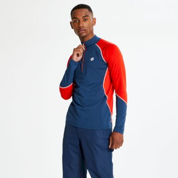 Men's Interfused Half Zip Core Stretch Midlayer Admiral Blue Fiery Red