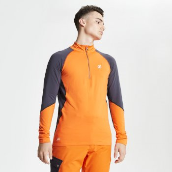 Men's Interfused Half Zip Core Stretch Midlayer Clementine Ebony