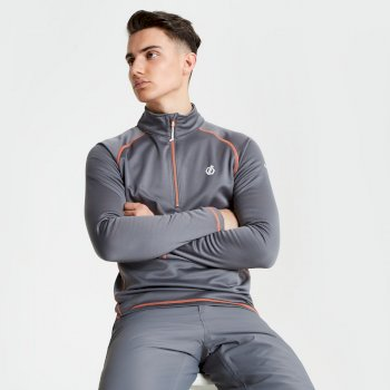 Men's Fuse Up Half Zip Core Stretch Midlayer Aluminium Grey
