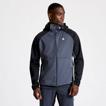 Men's Endure Hooded Softshell Jacket Ebony Grey Black