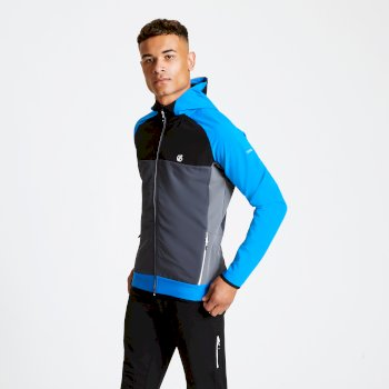 Men's Aptile Hooded Softshell Jacket Athletic Blue Ebony Grey