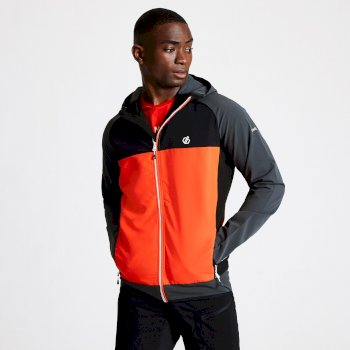 Men's Aptile Hooded Softshell Jacket Trail Blaze Red Ebony Grey