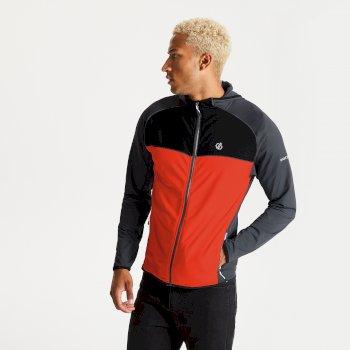 Men's Ratified II Full Zip Hooded Core Stretch Midlayer Black Trail Blaze Red