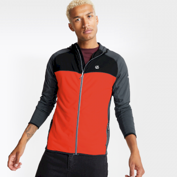 Men's Ratified II Full Zip Hooded Core Stretch Midlayer Trail Blaze Red Ebony Grey
