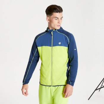 Men's Ratified II Full Zip Hooded Core Stretch Midlayer Lime Punch Nightfall Navy