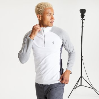 Men's Interfused II Half Zip Lightweight Core Stretch Midlayer White Ash Grey