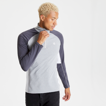 Men's Interfused II Half Zip Lightweight Core Stretch Midlayer Ash Ebony Grey