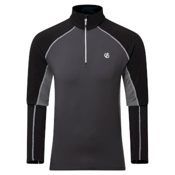 Men's Interfused II Half Zip Lightweight Core Stretch Midlayer Aluminium Ebony Grey