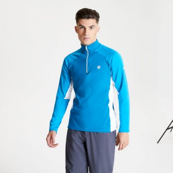 Men's Interfused II Half Zip Lightweight Core Stretch Midlayer Petrol Blue Methyl Blue