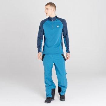 Sous-couche Homme stretch extensible et légère INTERFUSED avec ouverture 1/2 zip Bleu