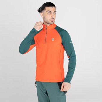 Sous-couche Homme stretch extensible et légère INTERFUSED avec ouverture 1/2 zip Orange