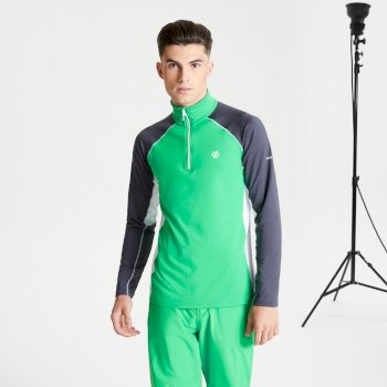 Men's Interfused II Half Zip Lightweight Core Stretch Midlayer Vivid Green Ebony Grey