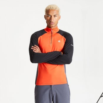 Men's Interfused II Half Zip Lightweight Core Stretch Midlayer Trail Blaze Black