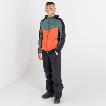 Men's Revived Hooded Core Stretch Midlayer Fern Green Amber Glow