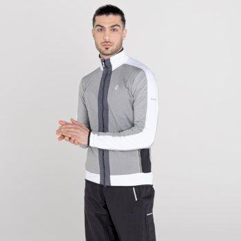 Men's Reformed Full Zip Core Stretch Midlayer Ash Grey Marl White