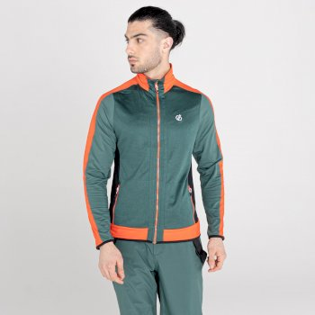 Men's Reformed Full Zip Core Stretch Midlayer Fern Green Amber Glow