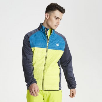 Men's Coordinate Wool Hybrid Baffled Jacket Lime Aluminium Grey