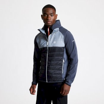 Men's Coordinate Wool Hybrid Baffled Vest Black Aluminium Grey Ebony