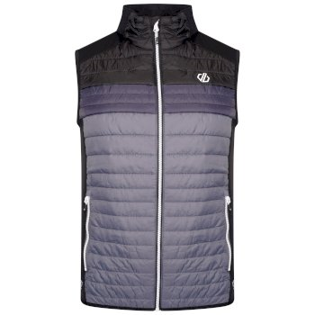 Men's Mountaineer Wool Quilted Bodywarmer Dark Storm Grey Black