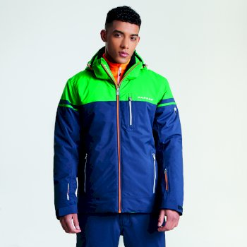 Men's Graded Ski Jacket Outerspace Blue Highland Green