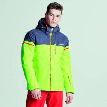 Men's Graded Ski Jacket Electric Lime Ebony Grey