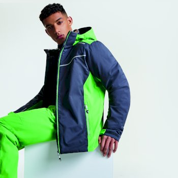 Men's Vigour Ski Jacket Ebony Grey Fairway Green
