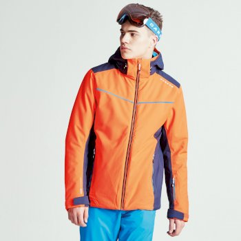 Men's Vigour Ski Jacket Vibrant Orange Outerspace Blue