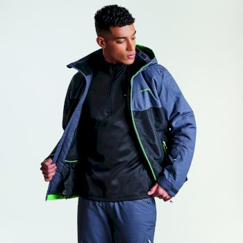 Men's Declarate Ski Jacket Black Ebony Grey Texture