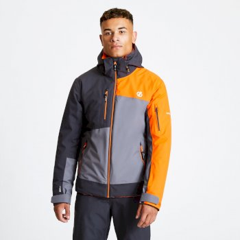 Men's Travail Pro Ski Jacket Aluminium Grey Ebony Clementine