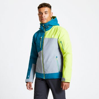Men's Travail Pro Ski Jacket Cloudy Grey Ocean Depths Citron Lime