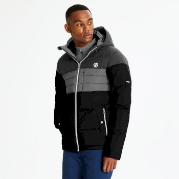 Men's Connate Quilted Ski Jacket Black Ebony Grey