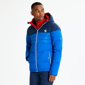 Men's Connate Quilted Ski Jacket Oxford Admiral Blue White
