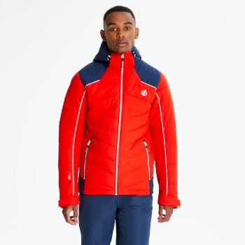 Men's Maxim Quilted Ski Jacket Fiery Red Admiral Blue