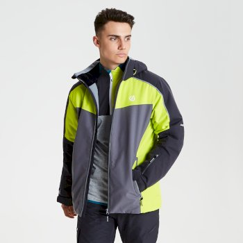 Men's Intermit Ski Jacket Ebony Citron Lime