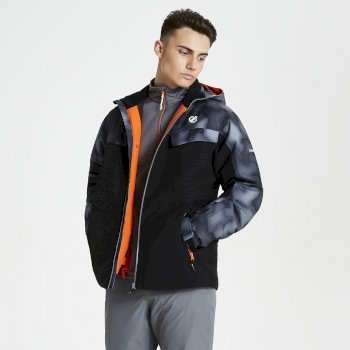 Men's Anomaly Printed Ski Jacket Black Digital Print