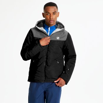 Men's Domain Quilted Ski Jacket Black Aluminium Grey
