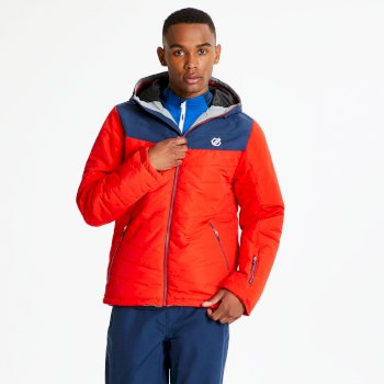 Men's Domain Quilted Ski Jacket Fiery Red Admiral Blue