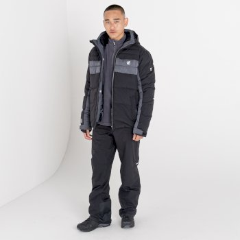 The Jenson Button Edit - Denote Waterproof Insulated Hooded Ski Jacket Black Ebony Grey