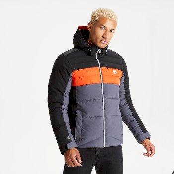Men's Denote Waterproof Insulated Hooded Ski Jacket Ebony Grey Black