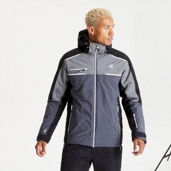Men's Intermit II Waterproof Insulated Hooded Ski Jacket Ebony Grey Black