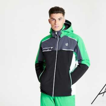 Men's Intermit II Waterproof Insulated Hooded Ski Jacket Black Vivid Green